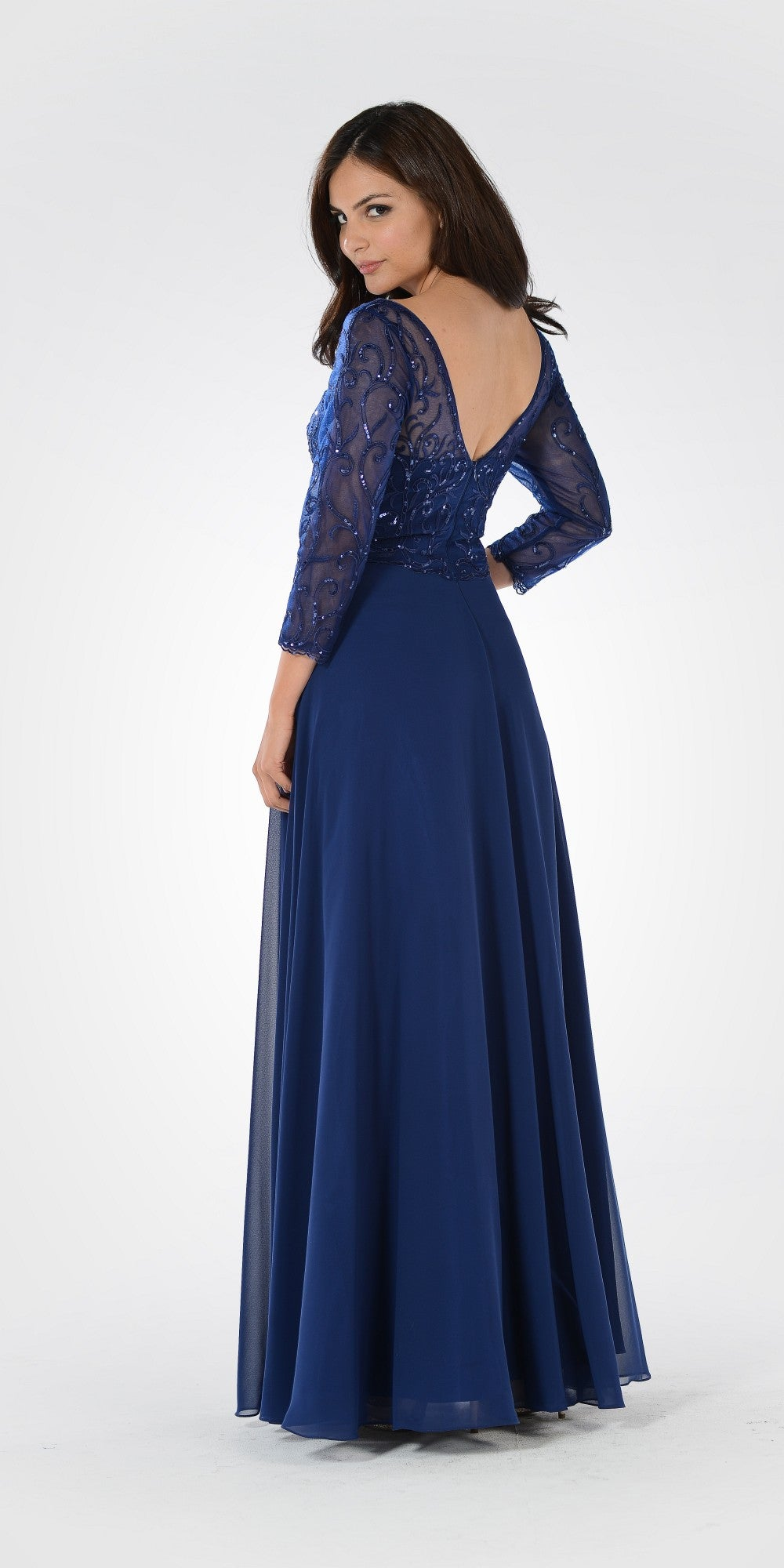 V-Neck Mid Sleeves Lace Top A-Line Formal Dress Long Navy Blue