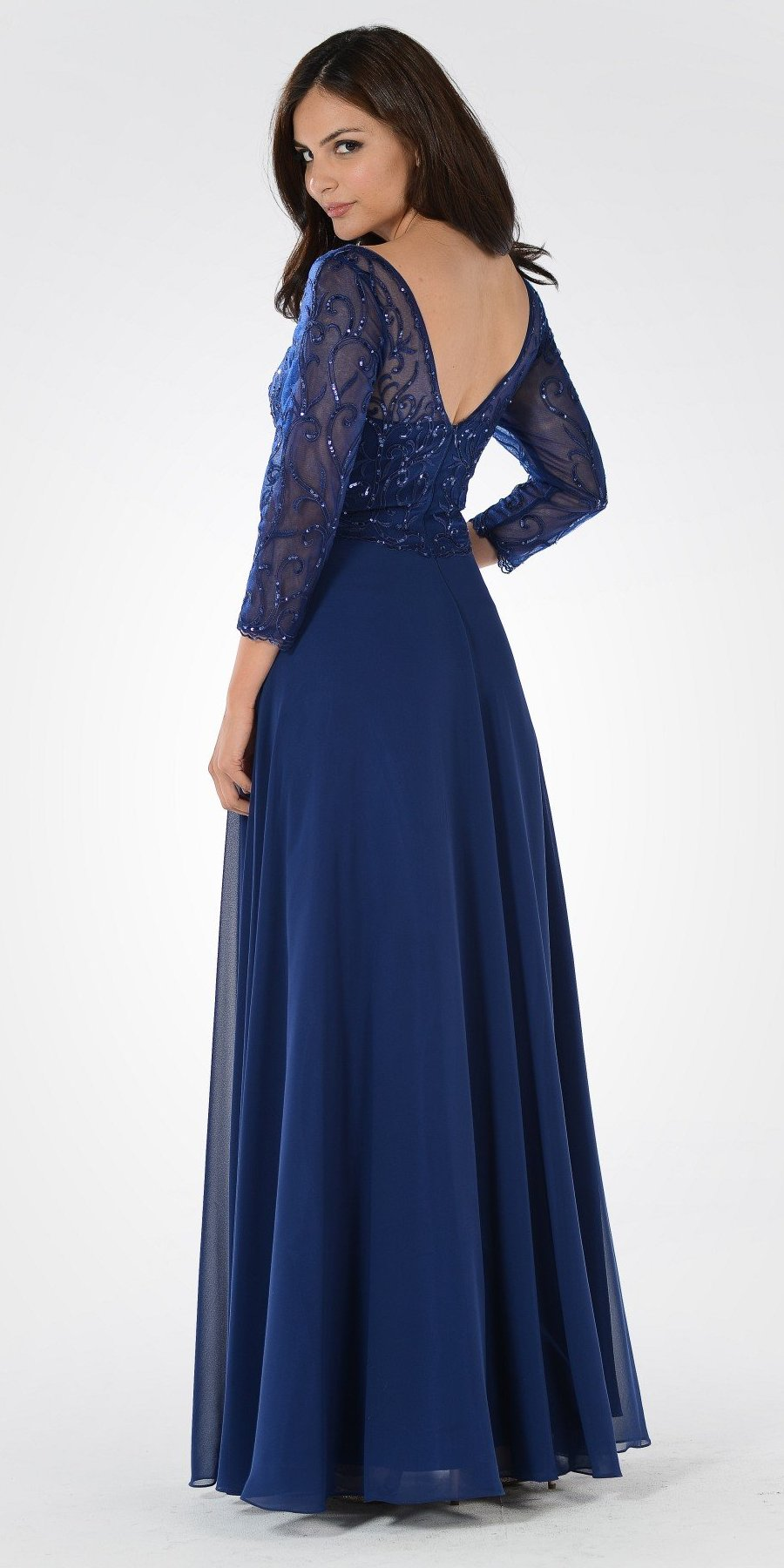 49bf099843 Poly USA 7808 V-Neck Mid Sleeves Lace Top A-Line Formal Dress Long ...