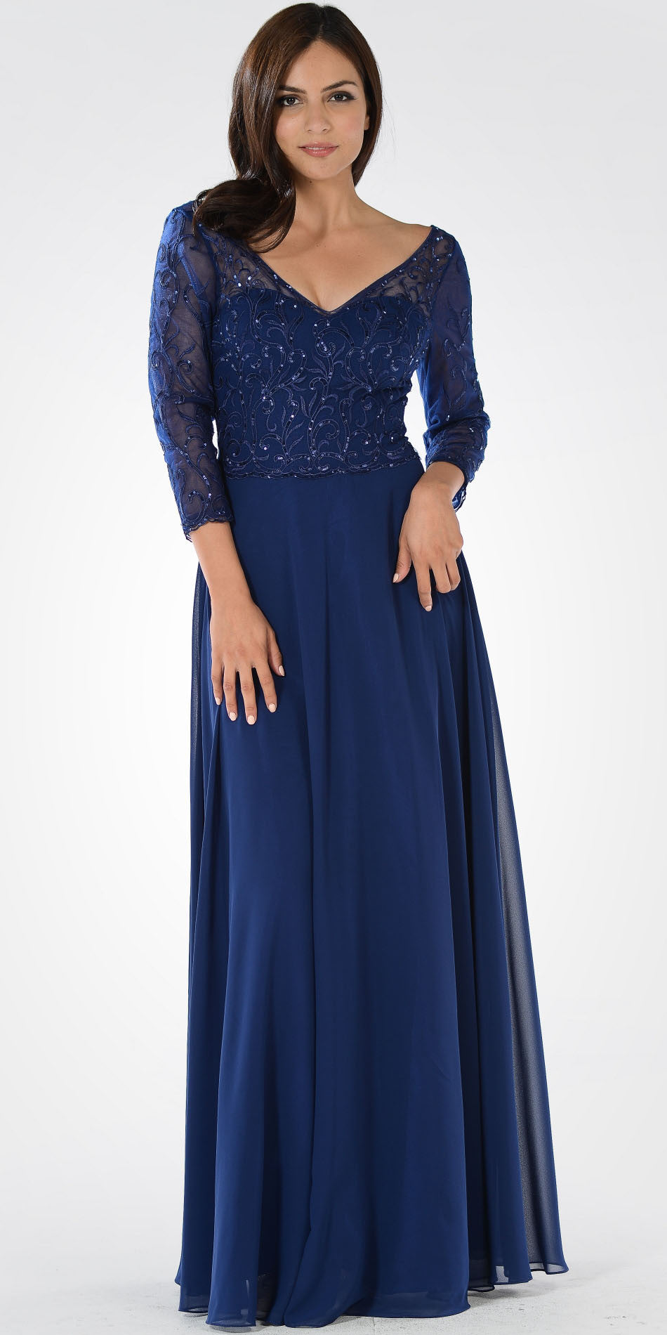 f90236ba8c V-Neck Mid Sleeves Lace Top A-Line Formal Dress Long Navy Blue. Tap to  expand