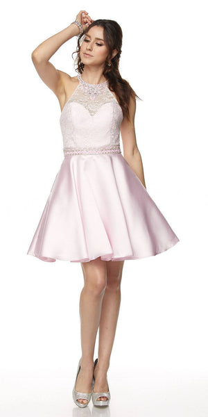 Juliet 781 - Short A Line Halter Lace Top Homecoming Dress Light Pink