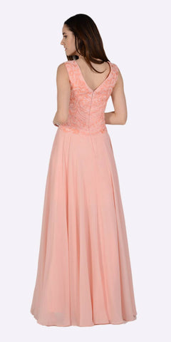 Long A-line Formal Dress Embellished Bodice Tank Strap Light Coral Back View