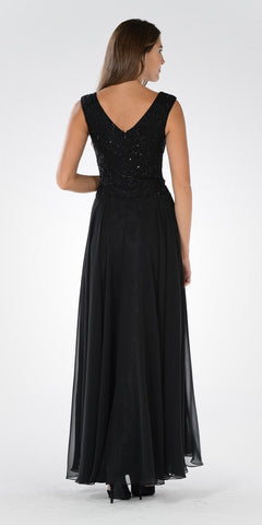 Long A-line Formal Dress Embellished Bodice Tank Strap Black - DiscountDressShop