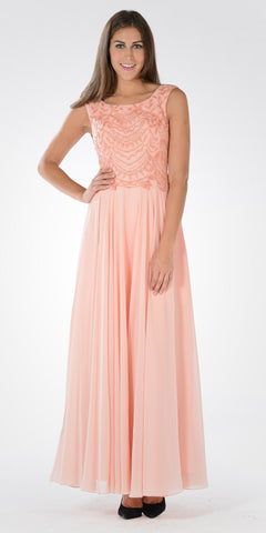 Long A-line Formal Dress Embellished Bodice Tank Strap Light Coral - DiscountDressShop