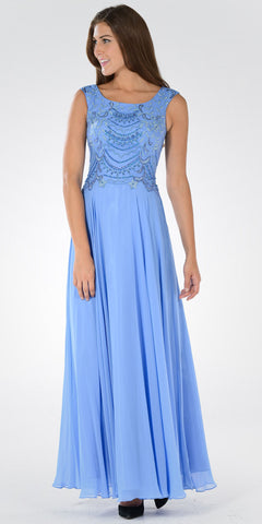 Long A-line Formal Dress Embellished Bodice Tank Strap Periwinkle - DiscountDressShop