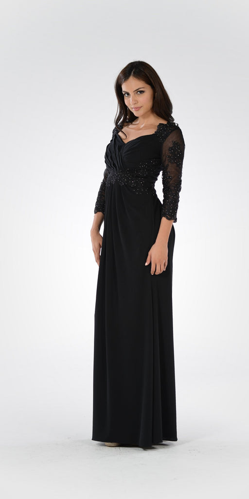 Black Pleated Bodice Appliqued Waist and Sleeves Formal Dress Long