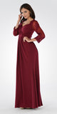 Burgundy Pleated Bodice Appliqued Waist and Sleeves Formal Dress Long