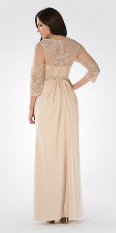 Champagne Pleated Bodice Appliqued Waist and Sleeves Formal Dress Long