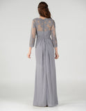 Gray Pleated Bodice Appliqued Waist and Sleeves Formal Dress Long
