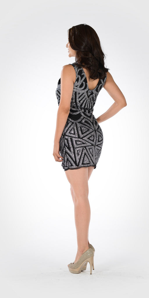Black/Silver Sequins V-Neck Fitted Mini Cocktail Party Dress
