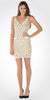 Ivory/Gold Sequins V-Neck Fitted Mini Cocktail Party Dress
