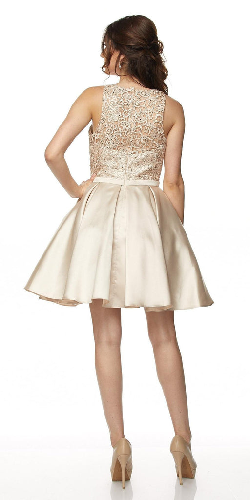 Juliet 782 Corded Lace Top Sleeveless Short Homecoming Dress Light Gold