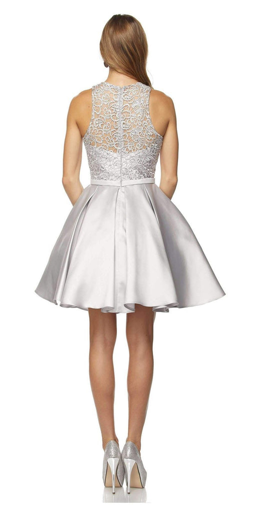 Juliet 782 Corded Lace Top Sleeveless Short Homecoming Dress Silver