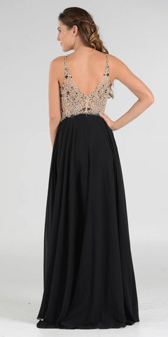 Poly USA 7826 - Halter Beaded Bodice A-Line Chiffon Long Prom Dress Black