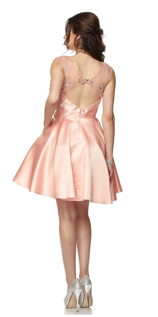 Juliet 783 Blush Cap Sleeves Illusion Beaded Neckline Short Prom Dress