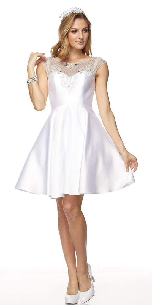 Juliet 783 White Cap Sleeves Illusion Beaded Neckline Short Prom Dress