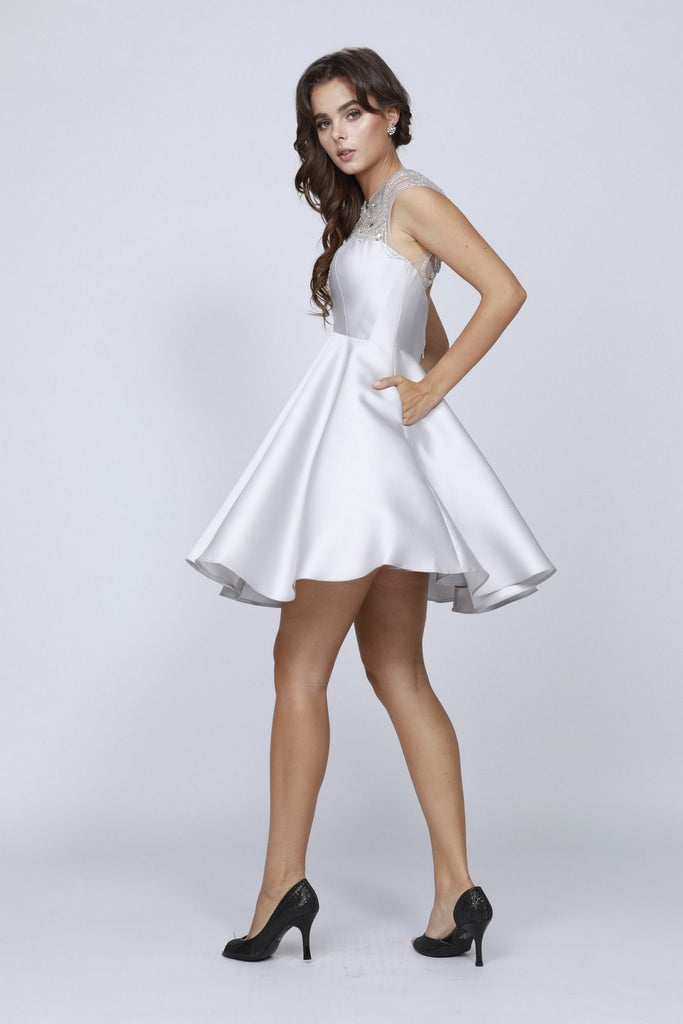 Juliet 783 Silver Cap Sleeves Illusion Beaded Neckline Short Prom Dress