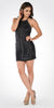 Black Halter Sequins Spaghetti Strap Fitted Party Dress Short