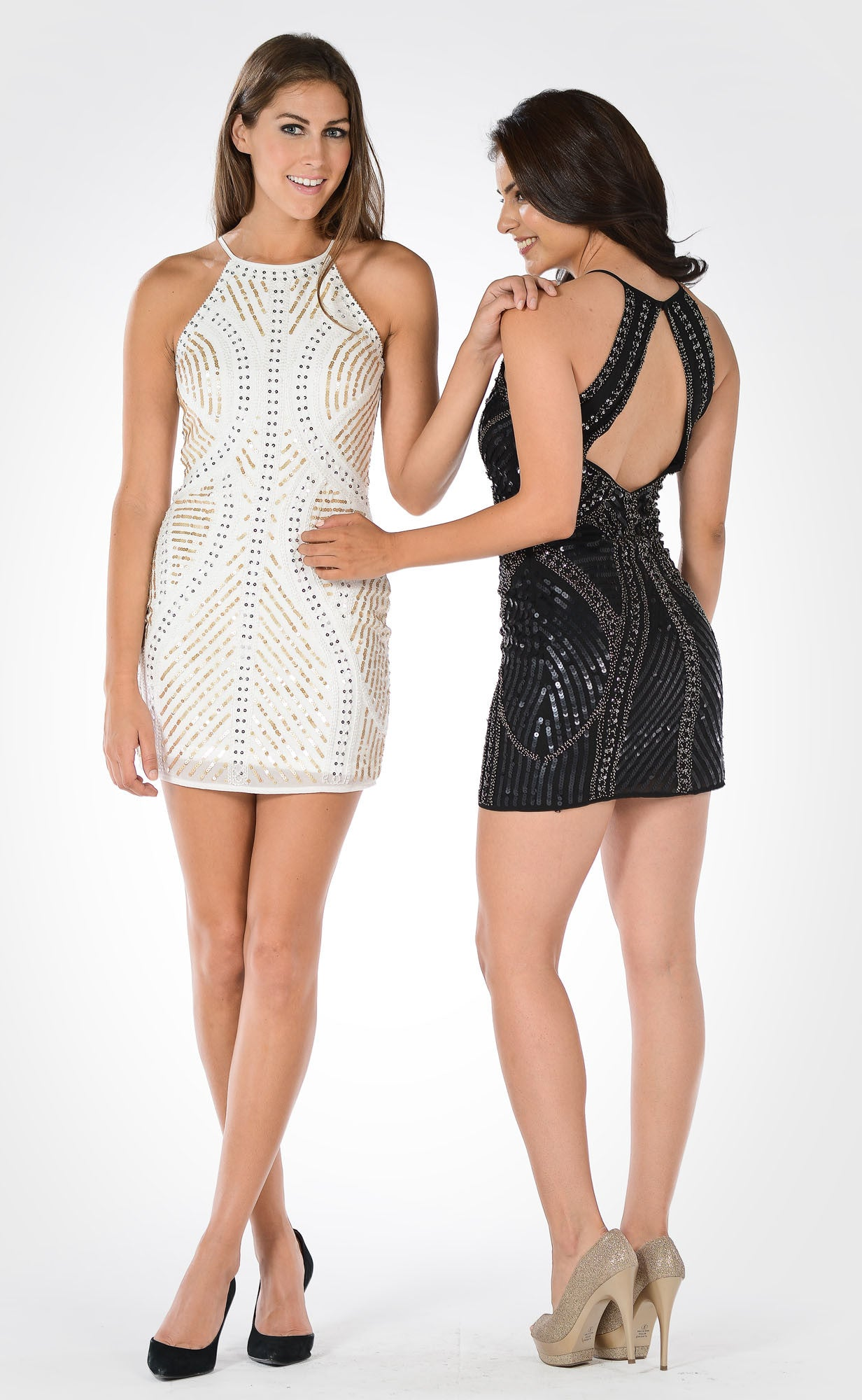 Black Halter Sequins Spaghetti Strap Fitted Party Dress Short ...