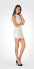Off White/Gold Halter Sequins Spaghetti Strap Fitted Party Dress Short