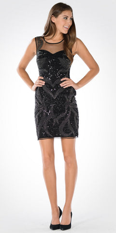 Illusion Sweetheart Neckline Sequins Fitted Cocktail Dress Black
