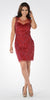 Illusion Sweetheart Neckline Sequins Fitted Cocktail Dress Red