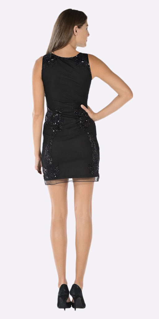 Poly USA 7838 Scoop Neck Sleeveless Sequins Mini Party Dress Black Back View