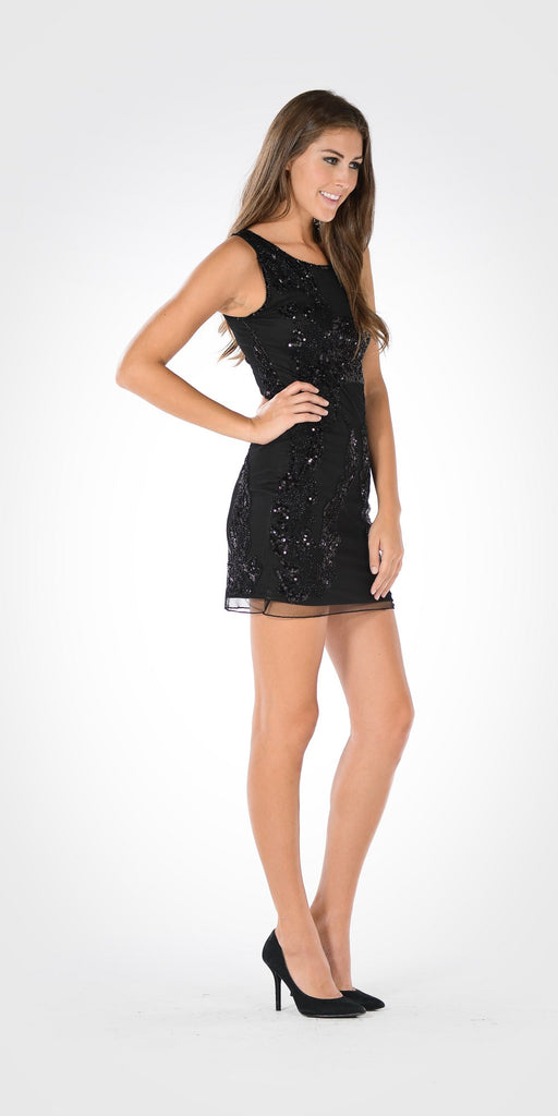 Scoop Neck Sleeveless Sequins Mini Party Dress Black