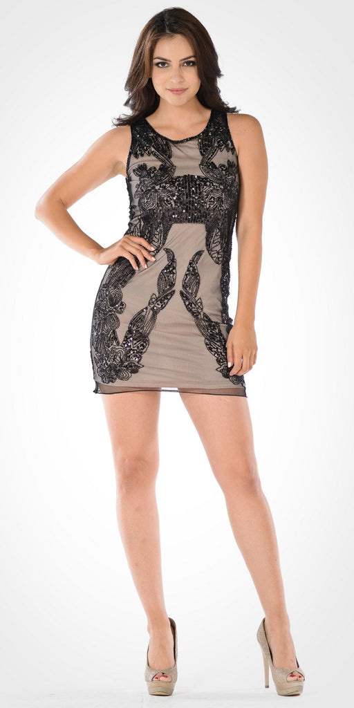 Scoop Neck Sleeveless Sequins Mini Party Dress Black/Nude