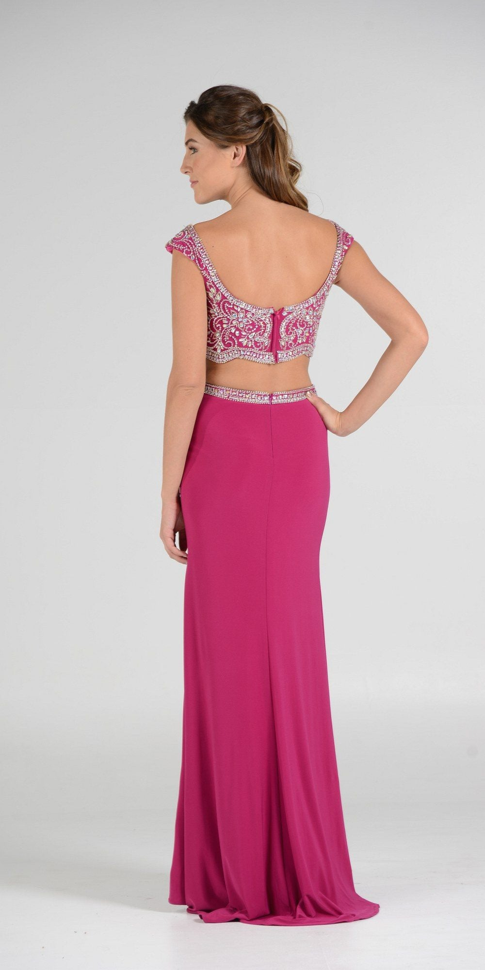 Red Beaded Crop Top Two Piece Long Prom Dress Cap Sleeves