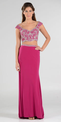 Magenta Beaded Crop Top Two-Piece Long Prom Dress Cap Sleeves