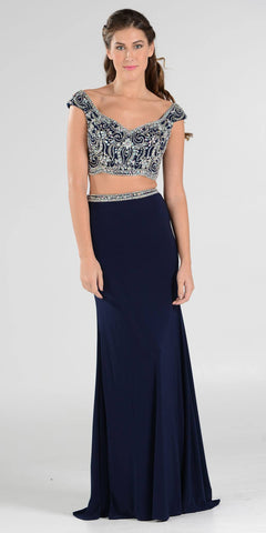 Navy Blue Beaded Crop Top Two-Piece Long Prom Dress Cap Sleeves