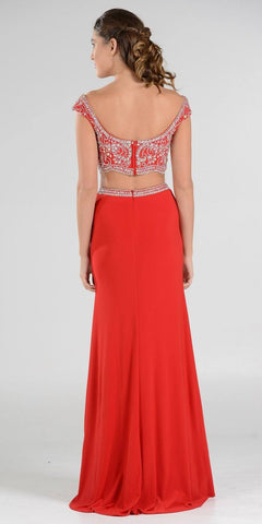 Red Beaded Crop Top Two-Piece Long Prom Dress Cap Sleeves
