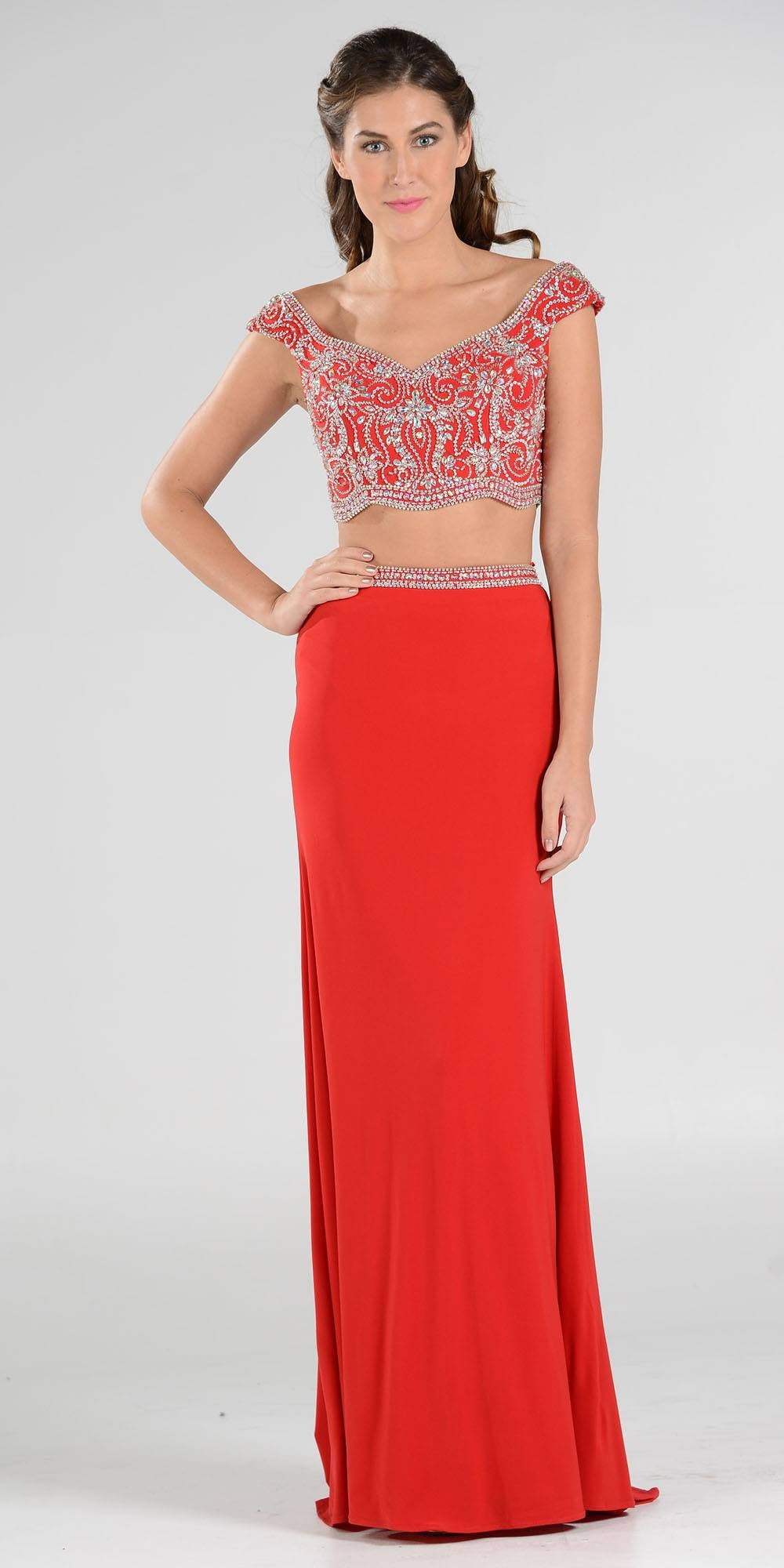 Red Prom Dress with Cap Sleeves