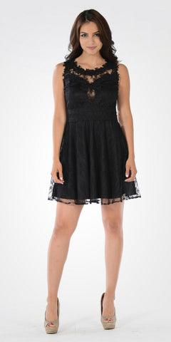 Black Applique Bodice Lace Short Party Dress Sleeveless