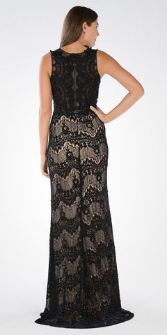Mock Two Piece Sleeveless Floor Length Lace Red Carpet Gown Black/Nude