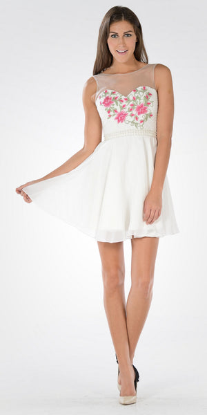 Off White Illusion Pink Embroidered Bodice A-line Homecoming Dress Short