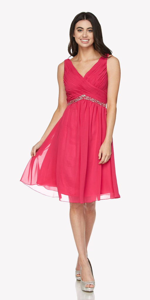 Juliet 786 Ruched V-Neck Cocktail Dress Embellished Waist Fuchsia