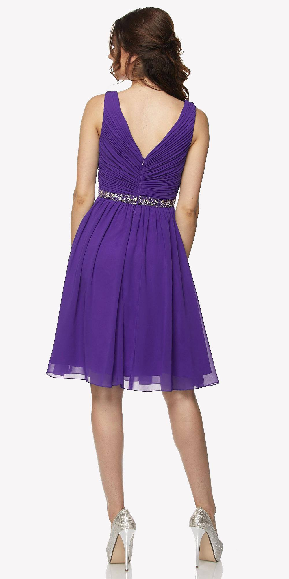 Juliet 786 Ruched V-Neck Cocktail Dress Embellished Waist Purple