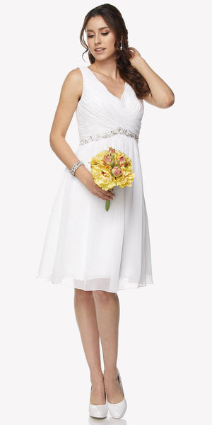 Juliet 786 Ruched V-Neck Cocktail Dress Embellished Waist White