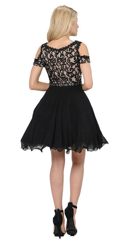 Poly USA 7864 Black Lace Top Peekaboo Sleeves Short Chiffon Homecoming Dress Back View