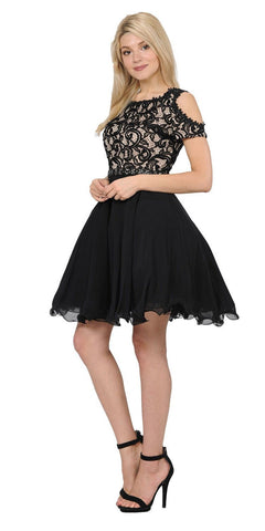 Poly USA 7864 Black Lace Top Peekaboo Sleeves Short Chiffon Homecoming Dress