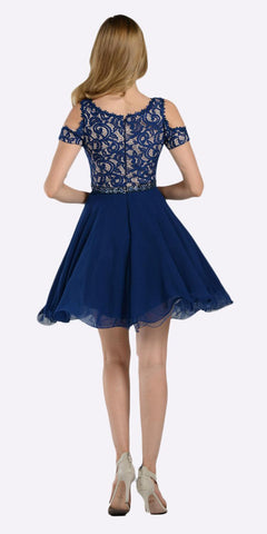 Poly USA 7864 Navy Blue Lace Top Peekaboo Sleeves Short Chiffon Homecoming Dress Back View