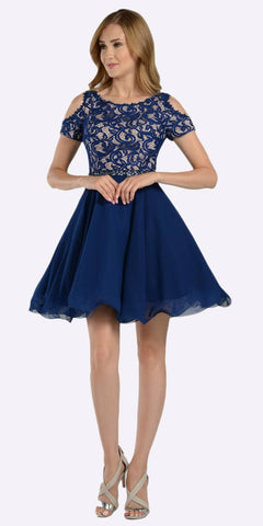 Poly USA 7864 Navy Blue Lace Top Peekaboo Sleeves Short Chiffon Homecoming Dress