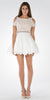 Off White Lace Top Peekaboo Sleeves Short Chiffon Homecoming Dress