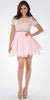 Pink Lace Top Peekaboo Sleeves Short Chiffon Homecoming Dress