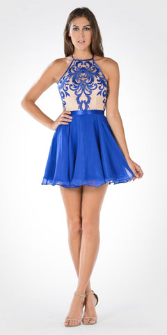 Sheer Embroidered Halter Top Short Chiffon Flaring Skirt Party Dress Cobalt