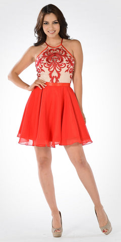 Sheer Embroidered Halter Top Short Chiffon Flaring Skirt Party Dress Red