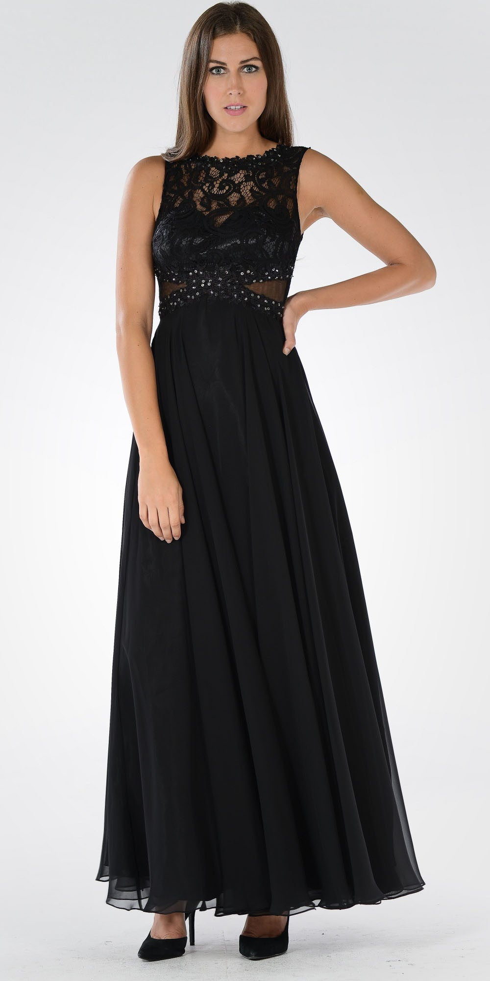 6bf9b8396b00 Lace Bodice Sleeveless A-Line Formal Dress Black Long Mesh Side Cut ...