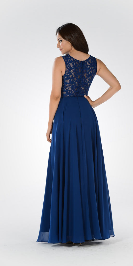 Lace Bodice Sleeveless A-Line Formal Dress Navy Blue Long Mesh Side Cut Outs