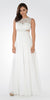 Lace Bodice Sleeveless A-Line Formal Dress Off White Long Mesh Side Cut Outs